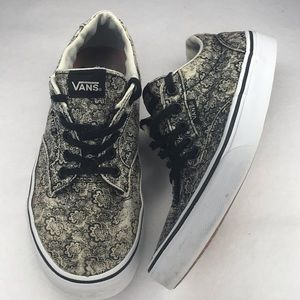 """VANS """"OFF THE WALL"""" DISTRESSED FLORAL WOMEN 8"""